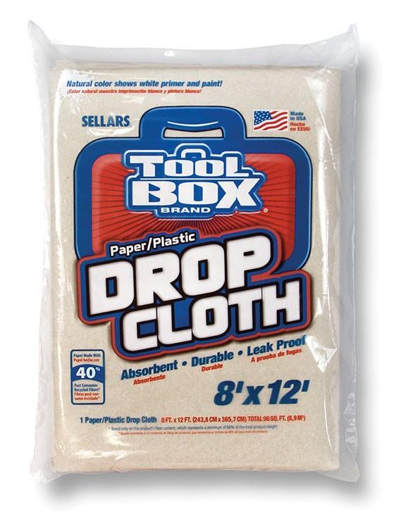 TOOLBOX 27812 Drop Cloths Paper/Plastic 8-ft x 12-ft (10 per case)